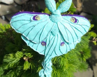"""Brooch butterfly """"Saturnia moon"""" hand made of polymer clay."""