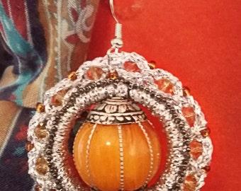 crochet earrings and Ochre yellow stone