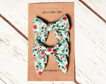 Mint and Pink Floral Sailor Bow