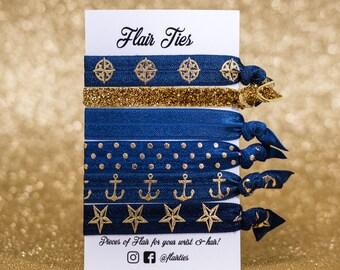 Navy Blue & Gold Sparkle Nautical Collection - Hair Ties | Hair Elastics