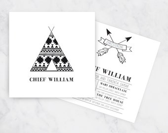 Little Chief Christening Invitation | Boho Baptism Invitation | Tribal Christening Invite