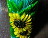 paraffin candle sunflower. interior for house.interior for house