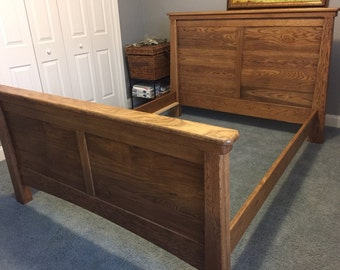 Queen size solid wood (white oak) bed built in the Arts & Craft Style