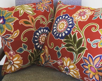 Red Floral Print Throw Pillow 18x18inch 45x45cm Cushion Cover