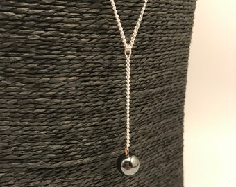 Necklace silver, Pearl Hematite