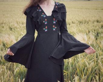 Vintage seventies black floral embroidered bell sleeve dress