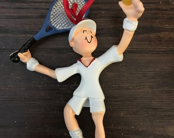 personalized tennis player christmas ornament