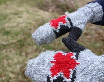 Handmade Maple Leaf Mittens