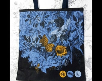 blue cotton bag, fabric printed linen, plant insects, hand drawing