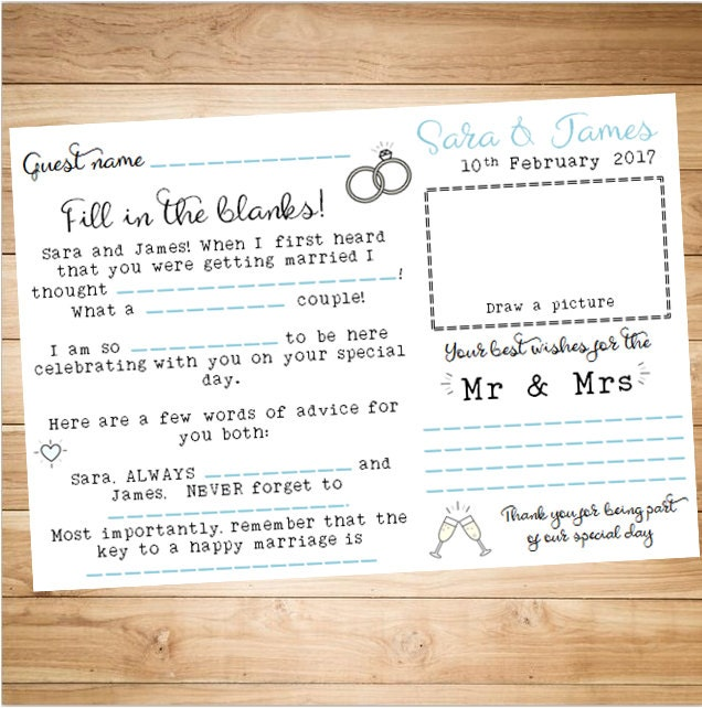 Guest Book Cover Template ~ Printable wedding guest book page personalised customised