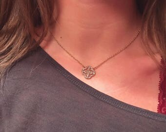 Gold Plated Clover Chain Necklace