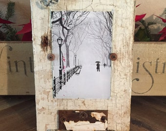 Reclaimed Wood Picture Frame on Hinge Stand 4x6