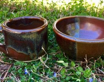 SALE | Vibration | Unique Handmade Bowl and Coffee Mug Set | Iron Red with Dipped Glaze Design | Ceramic | Pottery