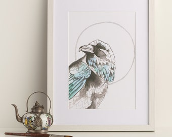 Blue raven art print - acrylic ink bird illustation - A4 art print - gifts for him - crow picture - raven drawing - new home gifts