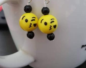 Black and yellow wink emoticon smiley earrings