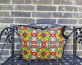 Stencil Handbag, Stencil Shoulder Bag, Cotton Stencil Purse, Talavera Tile Purse, Talavera Purse, Cotton TalaveraPurse, Gift for Her, Gift