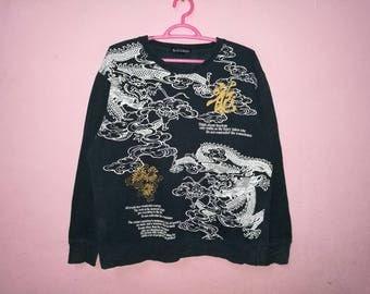 Rare!! Sukajan Dragon Big Print Spellout Pullover Jumper Sweatshirt Size L