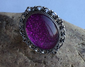 Ring purple glitter large
