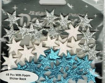 Winter Stars  Glitter Foam Scrapbook Stickers Petaloo Embellishments Cardmaking Crafts