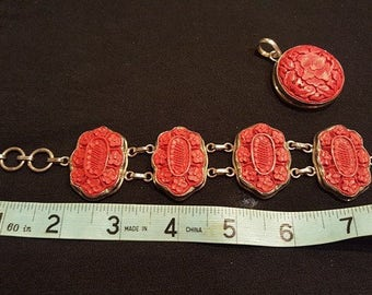 Red Bracelet and Matching Pendant