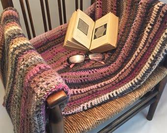 100% wool crochet blanket with handmade tassels, versatile, singular, weighty, warm, variegated colours, bedding, housewarming, wedding gift