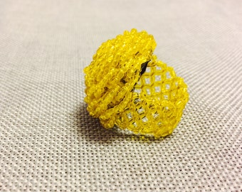 Beaded Yellow Flower Ring - Handmade in Zambia - FREE SHIPPING!