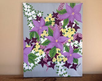 FREE SHIPPING!Original, hand painted,flowers,bouquet,painting of flowers,acrylic on canvas, with,silver metallic.