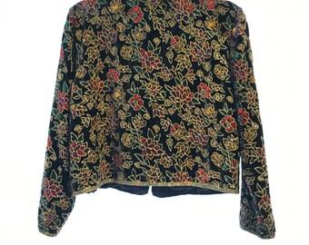 Vintage 80's beaded velvet blazer
