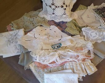 Vintage and new fabric and lace lot 2