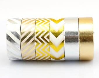 Set of 6 Washi Tapes - Metallic series