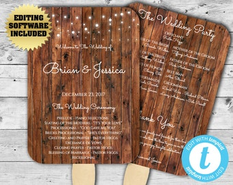 Country Wedding Program Fan Template - Rustic Wedding Program - Printable Program Template - DIY Wedding Program - Barn Wedding fan program