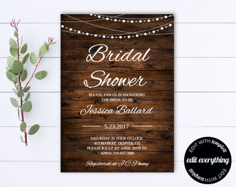Country Bridal Shower Invitation Template - Rustic Bridal Shower Invite - Instant Download - Barn Wedding Shower - Printable Invitation