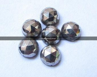 10 pieces 5mm Silver Pyrite rosecut cabochon round loose gemstone Pyrite metallic gemstone cabochon Pyrite Rose cut faceted Pyrite cabochon