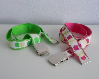 Apple Ribbon Web Belt Your Choice of Size and Green or Red Apples