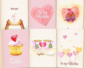 Valentine Cards, Love,  Printable Valentine cards, valentine clipart, watercolor printable