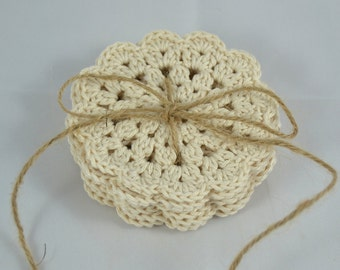 Crochet Coasters Set in beige