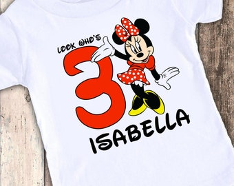 Minnie Mouse you choose color custom designed birthday t shirt tshirt personalized