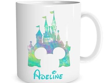 Personalized Mickey Mouse Castle watercolor Ceramic Mug