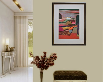 Landscape in orange, Abstract, Pastel on paper, Modern art, Drawning, Mixed media, Abstract painting, Certificate, 19.7 x 13.8 in / 50x35 cm