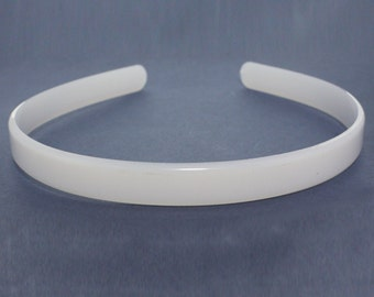 1.4cm HEADBAND CORE, white plastic aliceband centre, hair band former for your own designs. (Pack of 12)