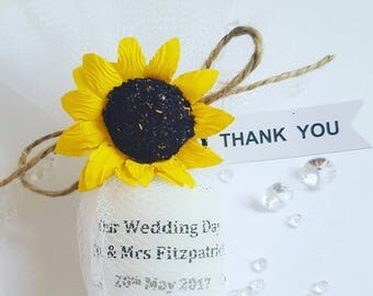 Sunflower wedding personalised candle favours