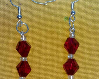 Red and Clear Glass Drop Earrings