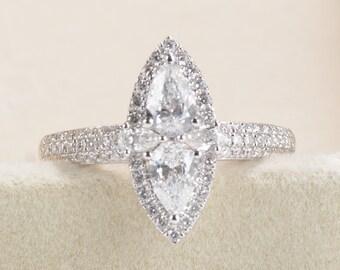 Diamond  Engagement Ring Vintage Marquise Engagement ring antique Halo engagement ring White gold Unique alternative ring half eternity band