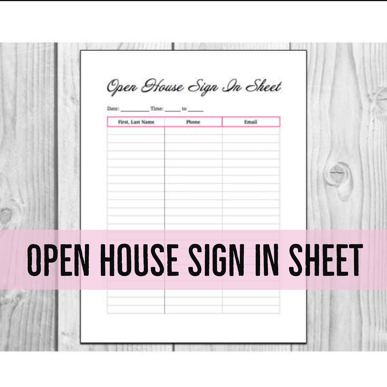Open House Sign In Sheet Printable PDF – Printable Sign in Sheet