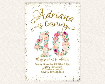Happy birthday, watercolor floral, white and gold, 40th birthday, gold glitter, fortieth birthday, adult birthday, floral invitation 65