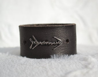 Black Leather Cuff Bracelet with Silver Wire Arrow Symbol