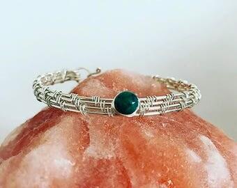 sterling silver wire work bracelet, silver bangle, azurite malachite stone