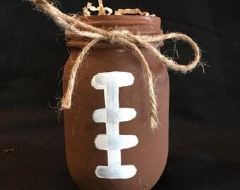 Hand painted football Mason Jars. Set of 3 jars