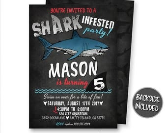 Shark Invitation, Shark Birthday Invitation, Shark Party, Pool Party, Shark Attack, Shark Infested, Invite, Digital, Printable, Personalized