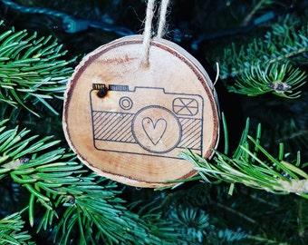 Camera ornament; photographer ornament; birch wood ornament